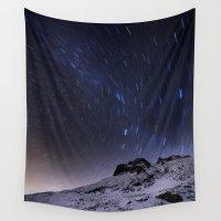 night sky Wall Tapestries featuring Night sky by Mila Pechenyakova