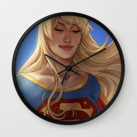 supergirl Wall Clocks featuring Supergirl by maltairs