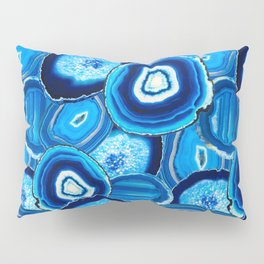 Geode Slices No.1 in Aquamarine + Sapphire Blue Pillow Sham