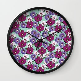 HIBISCUS ROSE: ORIGINAL COLOUR PRINT / PATTERN Wall Clock