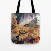 literary Tote Bags featuring Literary Flying Fish by Sarah Sutherland