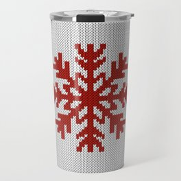 Knitted Christmas decoration red snowflake on white Travel Mug