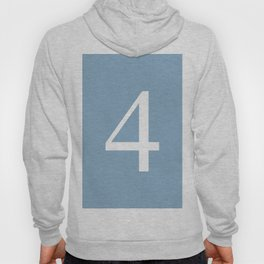 number four sign on placid blue color background Hoody