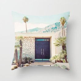 Palm Springs Black Door Photography Print Throw Pillow