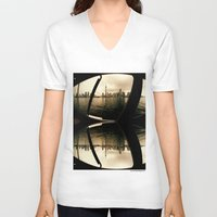 cityscape V-neck T-shirts featuring Cityscape by sysneye