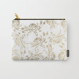 Vintage white faux gold roses floral Carry-All Pouch