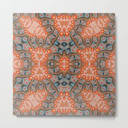 Energy Light | Orange & Teal geometry Metal Print