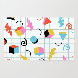 Clutch - memphis 80s style retro throwback cubes geometric triangles 1980's pattern Rug