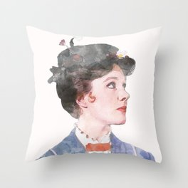 Mary Poppins - Watercolor Throw Pillow