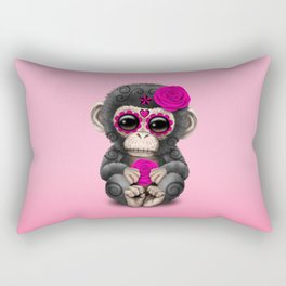Pink Day of the Dead Sugar Skull Baby Chimp Rectangular Pillow