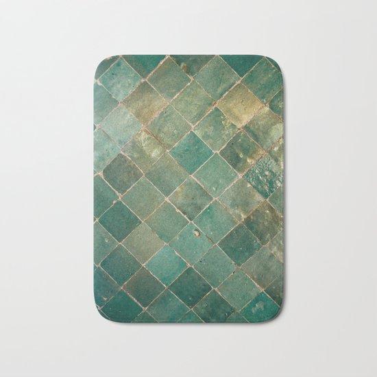 Green Moroccan Pattern Tile Bath Mat