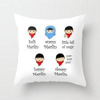 merlin Throw Pillows featuring Soft Merlin, Warm Merlin... by sirwatson