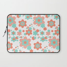 Coral and Mint Green Floral Laptop Sleeve