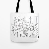 kitchen Tote Bags featuring Kitchen by Frances Roughton