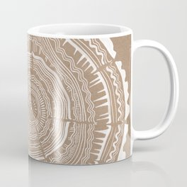 Tree Rings – White Ink on Kraft Coffee Mug