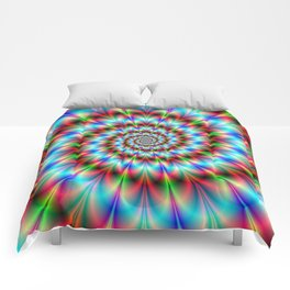 Spiral Rosette in Blue Green and Red Comforters