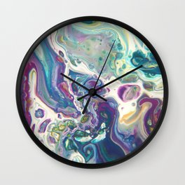 Fluid Nature - Purple Dance - Abstract Acrylic Pour Art Wall Clock