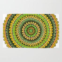 Lucky Shamrock Green and Gold Mandala Colored Pencil Illustration by Imaginarium Creative Studios Rug