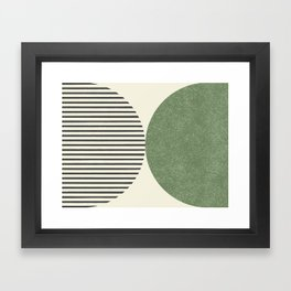 Semicircle Stripes - Green Framed Art Print