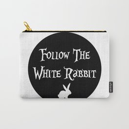 Follow the White Rabbit, circle, black Carry-All Pouch