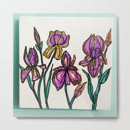 Iris with glitter Metal Print