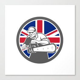 British Arborist Union Jack Flag Icon Canvas Print