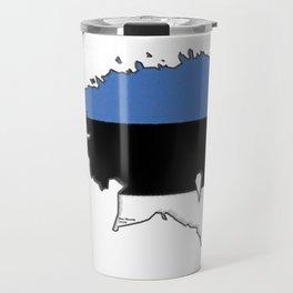 Estonia Map with Estonian Flag Travel Mug