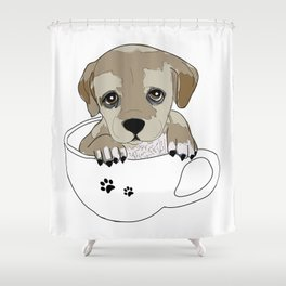 Puppies love coffee too! Shower Curtain