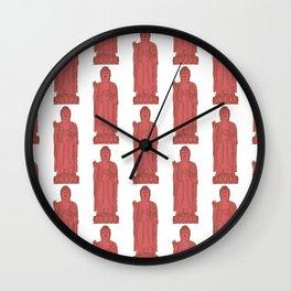 Zen:  Coral + Brown Buddha Wall Clock