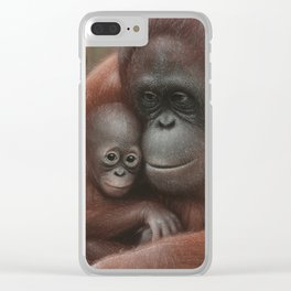 Orangutan Mother and Baby - Snuggled Clear iPhone Case