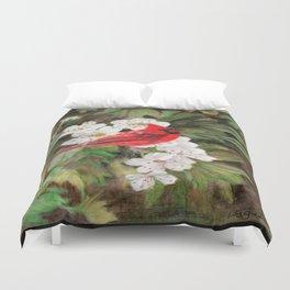 Red Bird on Hawthorn Flowers Duvet Cover