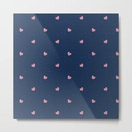 Hearts blue Metal Print