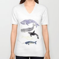 whales V-neck T-shirts featuring WHALES by Shannon Kirsten