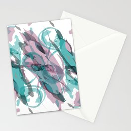 Abstract Purple & Teal Watercolor Stationery Cards