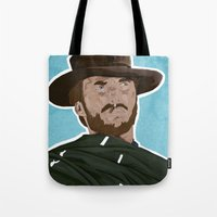 clint eastwood Tote Bags featuring Clint Eastwood by  Steve Wade ( Swade)