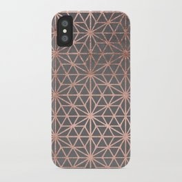 Modern rose gold stars geometric pattern Christmas grey graphite concrete industrial cement iPhone Case