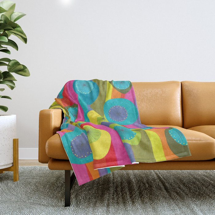 Groovy Retro Waves Throw Blanket