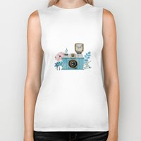 vintage camera Biker Tanks featuring Camera Vintage by Celosa Art