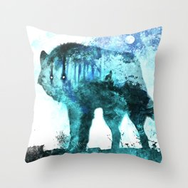 Double Exposure Wolf / Full Moon Wolves / Dark Forest Witch / Galaxy Space Wolf Throw Pillow