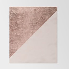 Minimalist blush pink rose gold color block geometric Throw Blanket