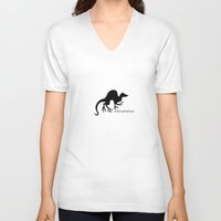 ferret V-neck T-shirts featuring Ferret 1 by rob art | patterns