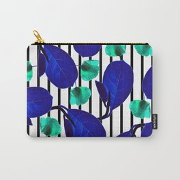 Blue Leaves + Aqua Poppies Carry-All Pouch