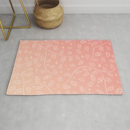 Coral Vine and Leaf Organic Pattern Rug