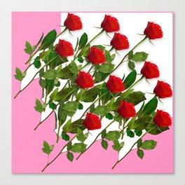 RED LONG STEMMED ROSES & PINK COLOR Canvas Print