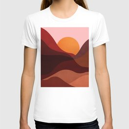 Abstraction_Mountains_SUNSET_Minimalism T-shirt