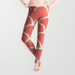 Large scallop pattern in peach echo with glow Leggings