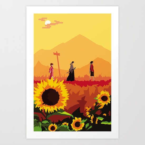 Journey to the Sunflower Samurai Art Print