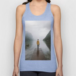 Mountain Lake Vibes - Landscape Photography Unisex Tank Top