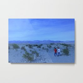 Death Valley Spring Bloom Landscape Blue Aperature Tourists One Metal Print