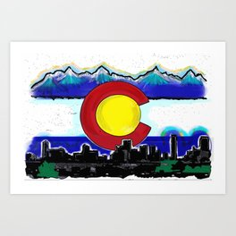 Denver Colorado artistic skyline art Art Print